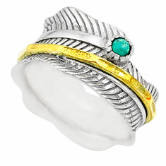 0.32cts natural turquoise tibetan 925 silver two tone spinner ring size 7 t31435