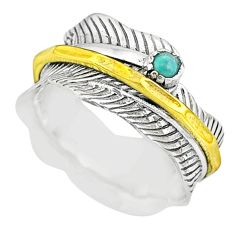 0.33cts natural turquoise tibetan 925 silver two tone spinner ring size 8 t31421
