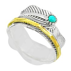 0.35cts natural turquoise tibetan 925 silver two tone spinner ring size 8 t31438