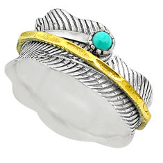 0.36cts natural turquoise tibetan silver two tone spinner ring size 10.5 t31423
