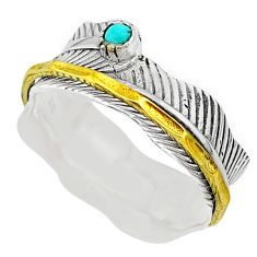 0.35cts natural turquoise tibetan silver two tone spinner ring size 10.5 t31425