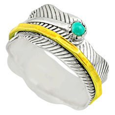 0.34cts natural turquoise tibetan silver two tone spinner ring size 9.5 t31439