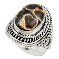 Natural turritella fossil snail agate 925 silver solitaire ring size 7 d47504