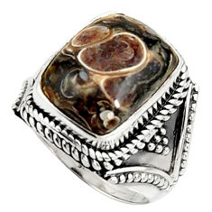 Natural turritella fossil snail agate 925 silver solitaire ring size 7 r22549