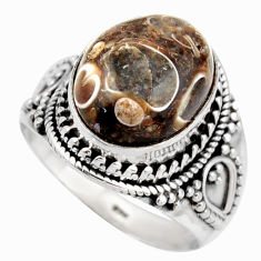 Natural turritella fossil snail agate 925 silver solitaire ring size 8 d46475