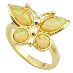 Natural white australian opal (lab) 925 silver gold ring size 7.5 a61101 c14964