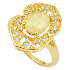 Natural white australian opal (lab) 925 silver gold ring size 7.5 a61217 c14954
