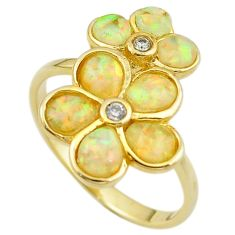 Natural white australian opal (lab) 925 silver gold ring size 9 a61086 c14982
