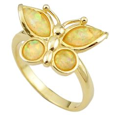 Natural white australian opal (lab) silver 14k gold ring size 9.5 a61107 c14970