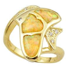 Natural white australian opal (lab) silver gold fish ring size 7 a61123 c15127