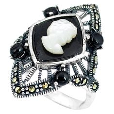 Natural white blister pearl marcasite 925 sterling silver ring size 5.5 c21498