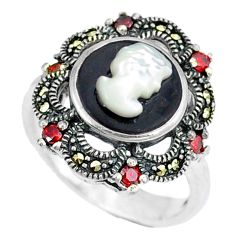 Natural white blister pearl marcasite 925 sterling silver ring size 6.5 c21516