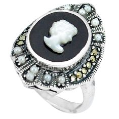 Natural white blister pearl marcasite 925 sterling silver ring size 6 c21483