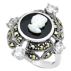 Natural white blister pearl marcasite 925 sterling silver ring size 7 c21482
