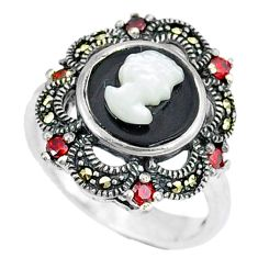 Natural white blister pearl marcasite 925 sterling silver ring size 7 c21485