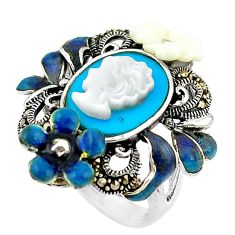 Natural white blister pearl marcasite enamel 925 silver ring size 7 c21409