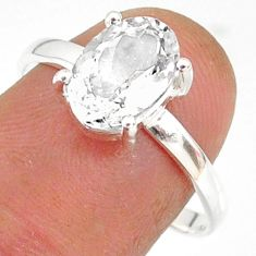 2.92cts natural white danburite faceted 925 sterling silver ring size 8.5 r88500