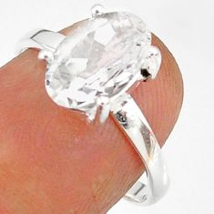 2.82cts natural white danburite faceted 925 sterling silver ring size 7 r88481