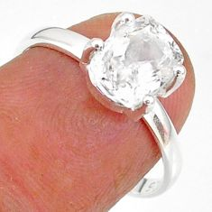 2.34cts natural white danburite faceted 925 sterling silver ring size 7 r88484