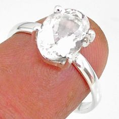 3.16cts natural white danburite faceted 925 sterling silver ring size 7 r88490