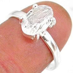 2.84cts natural white danburite faceted 925 sterling silver ring size 7 r88492