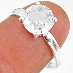 2.85cts natural white danburite faceted 925 sterling silver ring size 7 r88494
