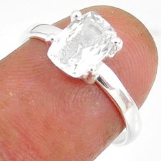2.25cts natural white danburite faceted 925 sterling silver ring size 7 r88496