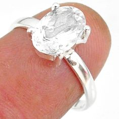 3.20cts natural white danburite faceted 925 sterling silver ring size 7 r88497