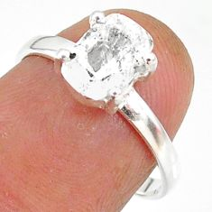 2.98cts natural white danburite faceted 925 sterling silver ring size 7 r88498