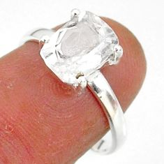 3.06cts natural white danburite faceted 925 sterling silver ring size 7 r88514