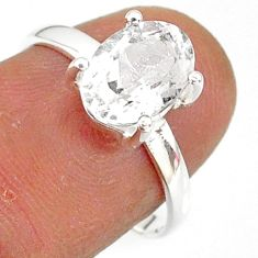 3.21cts natural white danburite faceted 925 sterling silver ring size 7 r88520