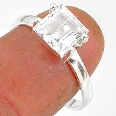2.55cts natural white danburite faceted 925 sterling silver ring size 8 r88482