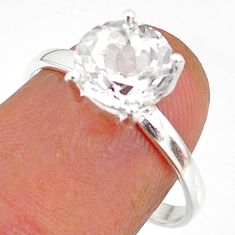 3.23cts natural white danburite faceted 925 sterling silver ring size 8 r88486