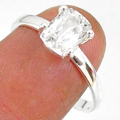 2.22cts natural white danburite faceted 925 sterling silver ring size 8 r88487