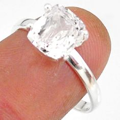 3.48cts natural white danburite faceted 925 sterling silver ring size 8 r88491
