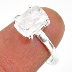 3.07cts natural white danburite faceted 925 sterling silver ring size 8 r88511