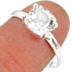 2.82cts natural white danburite faceted 925 sterling silver ring size 8 r88515