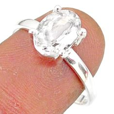 3.06cts natural white danburite faceted 925 sterling silver ring size 8 r88517