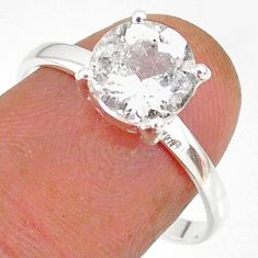 3.23cts natural white danburite faceted 925 sterling silver ring size 9 r88493