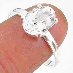 3.31cts natural white danburite faceted 925 sterling silver ring size 9 r88495