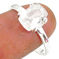 2.96cts natural white danburite faceted 925 sterling silver ring size 9 r88513