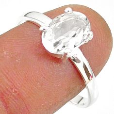 2.95cts natural white danburite faceted 925 sterling silver ring size 9 r88518