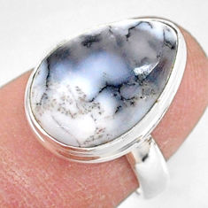 8.87cts natural white dendrite opal (merlinite) 925 silver ring size 6 r87698