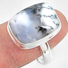 11.23cts natural white dendrite opal (merlinite) 925 silver ring size 9 r87677