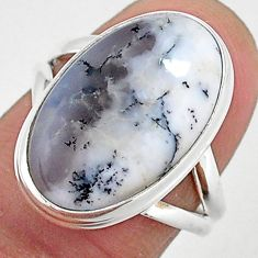 10.80cts natural white dendrite opal 925 silver solitaire ring size 7 r95631