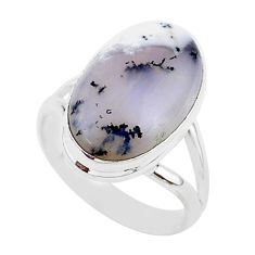 9.40cts natural white dendrite opal 925 silver solitaire ring size 8 r95646