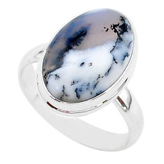 7.83cts natural white dendrite opal 925 silver solitaire ring size 9 r95651