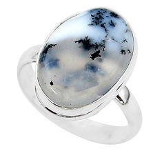 10.01cts natural white dendrite opal 925 silver solitaire ring size 9 r95652