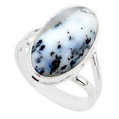 8.09cts natural white dendrite opal 925 silver solitaire ring size 9 r95654