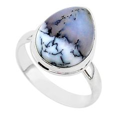 9.61cts natural white dendrite opal 925 silver solitaire ring size 9 r95659